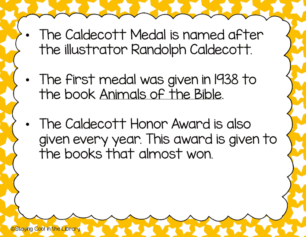 Caldecott Medal PowerPoint and Activities