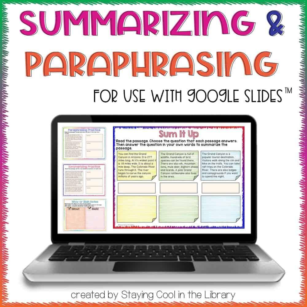 Summarizing and Paraphrasing Activities for Google Slides