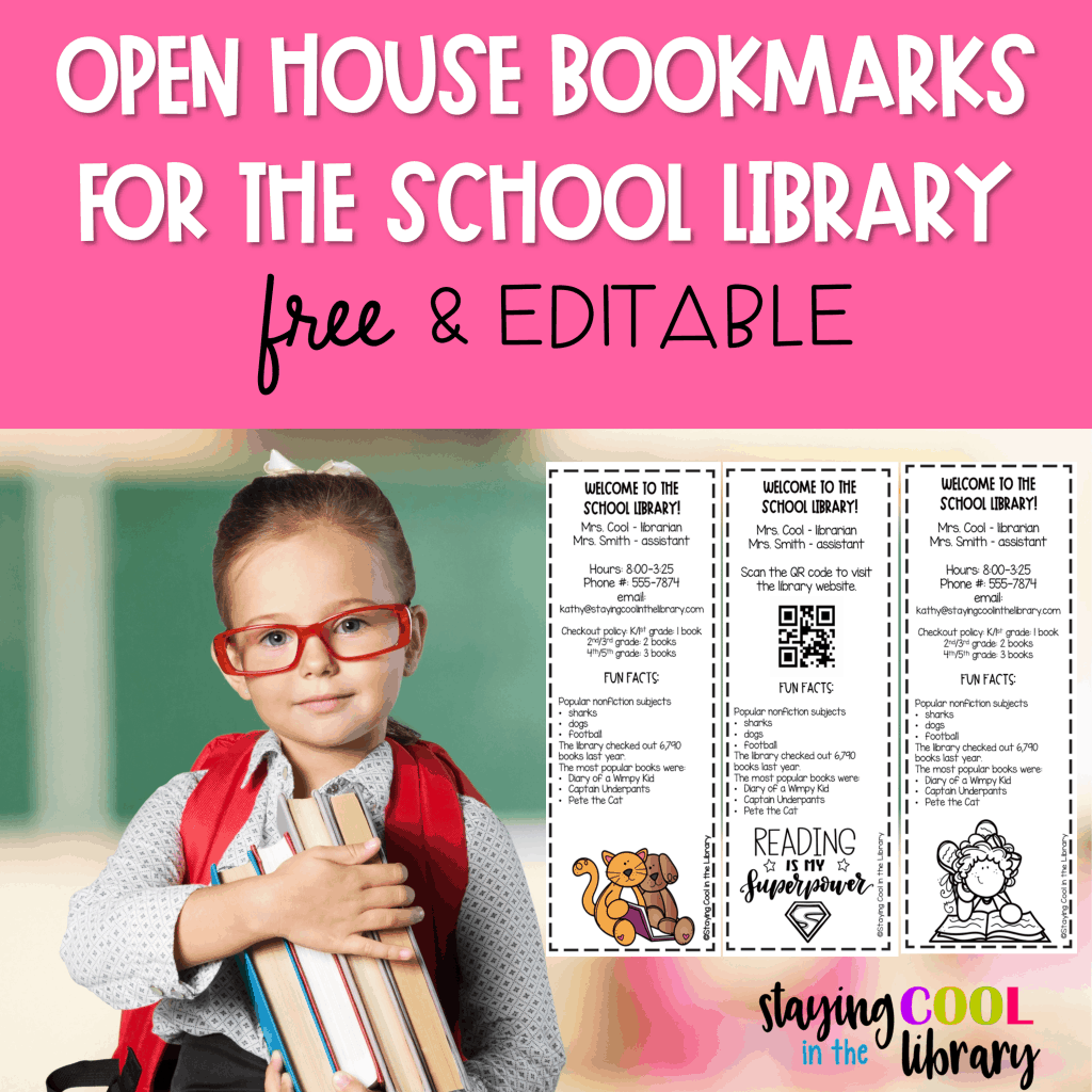Open House Bookmarks for the School Library Freebie