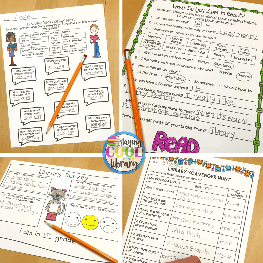 Library no prep printables from my school librarian survival kit!
