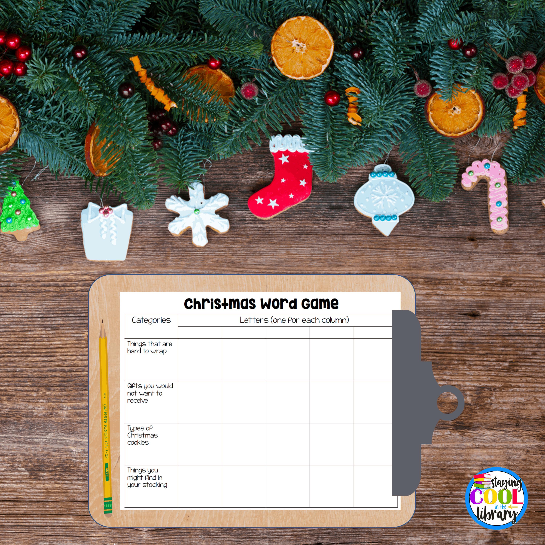 Christmas Word Game, Christmas lesson plans