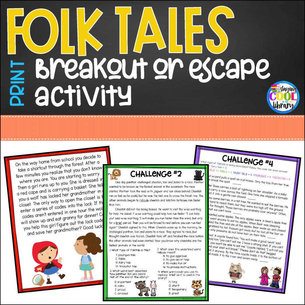 Folktales Print Breakout Escape Activity